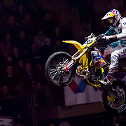 January 8, 2014 - New York, NY : Nitro Circus, an action/extreme sports show starring Travis Pastrana, made its Madison Square Garden debut in Manhattan on Wednesday night. Pictured here, Travis Pastrana performs on a motocross bike during the show. CREDIT : Karsten Moran for The New York Times **SEE LICENSING  RESTRICTIONS IN INSTRUCTION FIELD**