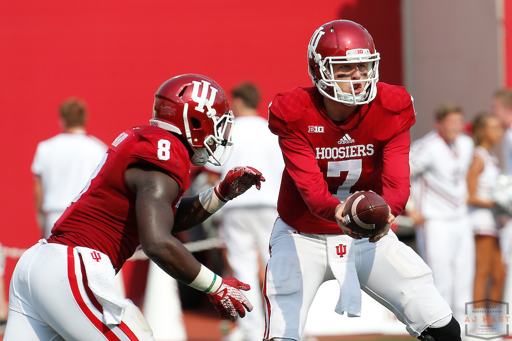 Indiana quarterback Nate Sudfeld (7) in action as Southern Illinois played Indiana in an NCCA college football game in Bloomington, Ind., Saturday, Sept. 5, 2015. (AJ Mast )
