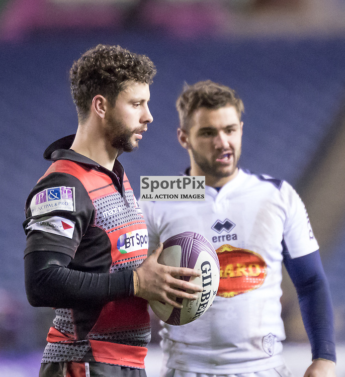 Edinburgh #9 Sean Kennedy during the game.  Edinburgh Rugby v Agen, European Challenge Cup, 15th January 2016