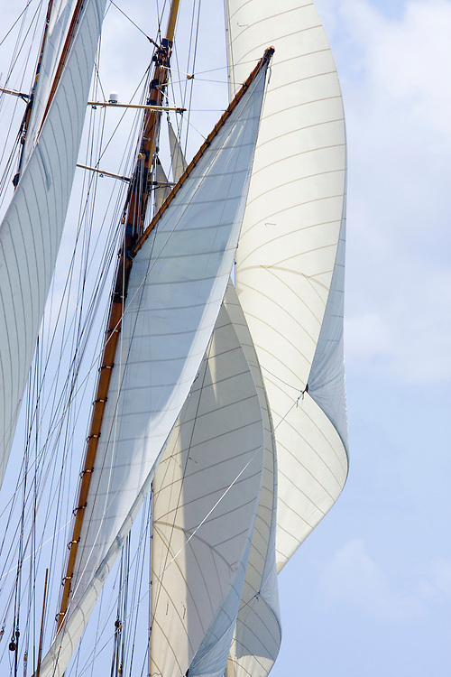 Gaff rigged sails of the Schooner yacht Altair at the 2008 Antigua Classic Yacht Regatta . This race is one of the worlds most prestigious traditional yacht races. It takes place annually off the costa of Antigua in the British West Indies.