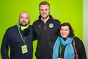 Forest Green Rovers goalkeeper Lewis Ward(34) with his sponsors during the EFL Sky Bet League 2 match between Forest Green Rovers and Carlisle United at the New Lawn, Forest Green, United Kingdom on 16 March 2019.
