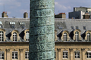 France. Paris. elevated view. The Vendome Column stands on Place Vendome in Paris, as seen from the Coco Chanel suite of the Hotel Ritz.