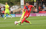 James Berrett during the Sky Bet League 2 match between York City and Hartlepool United at Bootham Crescent, York, England on 15 August 2015. Photo by Simon Davies.