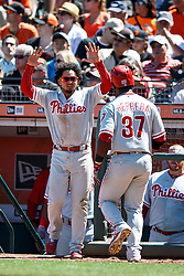SAN FRANCISCO, CA - JUNE 26: Odubel Herrera #37 of the Philadelphia Phillies is congratulated by Freddy Galvis #13 after hitting a home run against the San Francisco Giants during the seventh inning at AT&T Park on June 26, 2016 in San Francisco, California.  (Photo by Jason O. Watson/Getty Images) *** Local Caption *** Odubel Herrera; Freddy Galvis