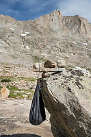 Improvised food bag hanging method, Titcomb Basin backcountry camp, Bridger Wilderness, Wind River Range Wyoming