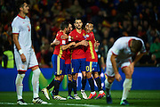 "GRANADA, SPAIN - NOVEMBER 12:  Victor Machin Perez ""Vitolo"" and Thiago Alcantara of Spain celebrates after scoring with his team mates during the FIFA 2018 World Cup Qualifier between Spain and FYR Macedonia at  on November 12, 2016 in Granada, .  (Photo by Aitor Alcalde Colomer/Getty Images)"