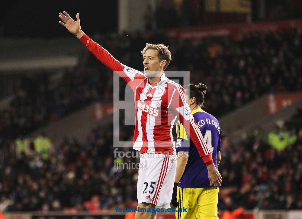 Peter Crouch of Stoke City during the Barclays Premier League match at the Britannia Stadium, Stoke-on-Trent<br /> Picture by Tom Smith/Focus Images Ltd 07545141164<br /> 12/02/2014