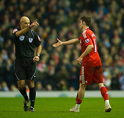 LIVERPOOL, ENGLAND - Wednesday, January 20, 2010: Referee Howard Webb refuses to shake the hand of Albert Riera during the Premiership match against Tottenham Hotspur at Anfield. (Photo by: David Rawcliffe/Propaganda)