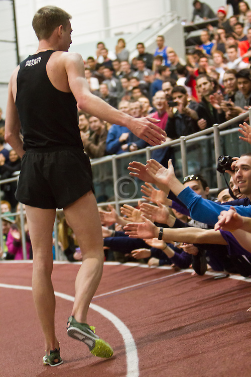 Boston University Terrier Invitational Indoor Track Meet: Galen Rupp, Oregon Project, wins Elite Mile 3:50.92 and greets fans trackside