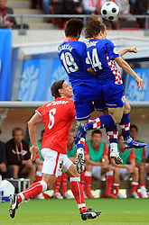 Niko Kranjcar and Luka Modric jump for ball during the UEFA EURO 2008 Group B soccer match between Austria and Croatia at Ernst-Happel Stadium, on June 8,2008, in Vienna, Austria.  (Photo by Vid Ponikvar / Sportal Images)