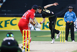 © Licensed to London News Pictures. 26/12/2013. Mitchell Starc bowling during the 2nd T20 international between Australia Vs England at the Melbourne Cricket Ground, Victoria, Australia. Photo credit : Asanka Brendon Ratnayake/LNP