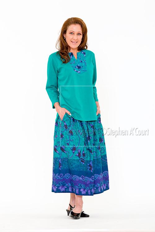 Yoke Print Tunic Jade. Border Print Skirt. Photo credit: Stephen A'Court.  COPYRIGHT ©Stephen A'Court