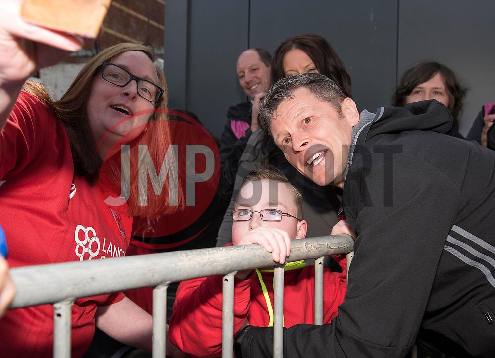 Steve Cottrerill is welcomed back to Ashton Gate by devoted fan Oskar Pycroft - Mandatory by-line: Paul Knight/JMP - 07/05/2017 - FOOTBALL - Ashton Gate - Bristol, England - Bristol City v Birmingham City - Sky Bet Championship