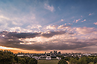Greenwich, London, as seen from the Observatory, with Canary Wharf in the background