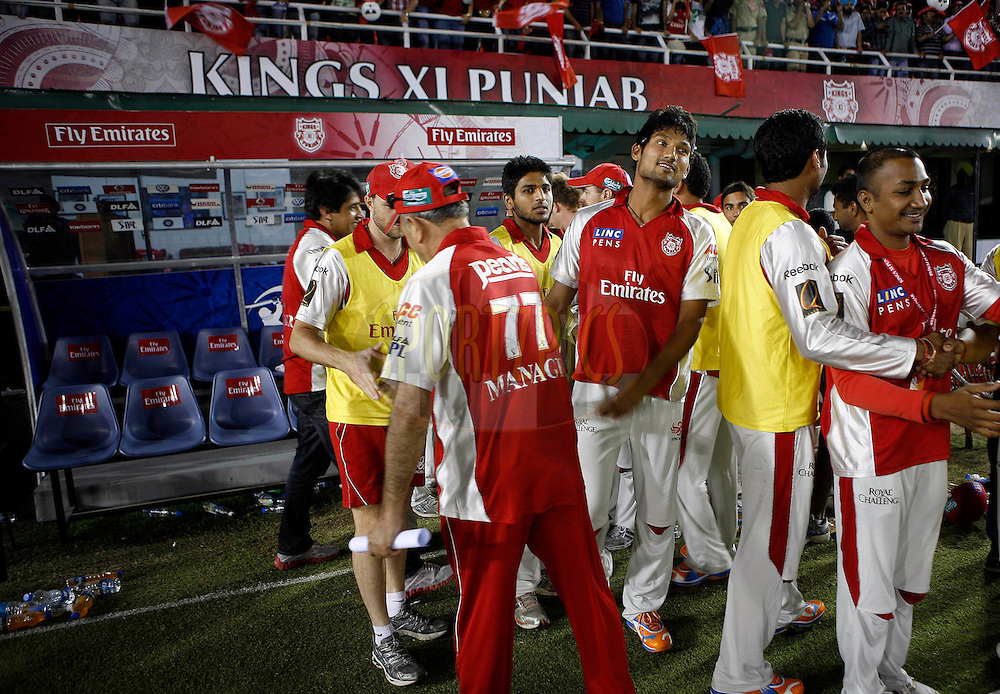 Kings XI Punjab team celebrate during match 23 of the Indian Premier League ( IPL ) Season 4 between the Kings XI Punjab and the Rajasthan Royal held at the PCA stadium in Mohali, Chandigarh, India on the 21st April 2011..Photo by Money Sharma/BCCI/SPORTZPICS.