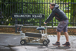 © Licensed to London News Pictures. 19/05/2015. OXFORD, UK. Filming of ITV drama Endeavour, telling the story of the early life of Inspector Morse, taking place in Wellington Square in Oxford. Photo credit : Cliff Hide/LNP