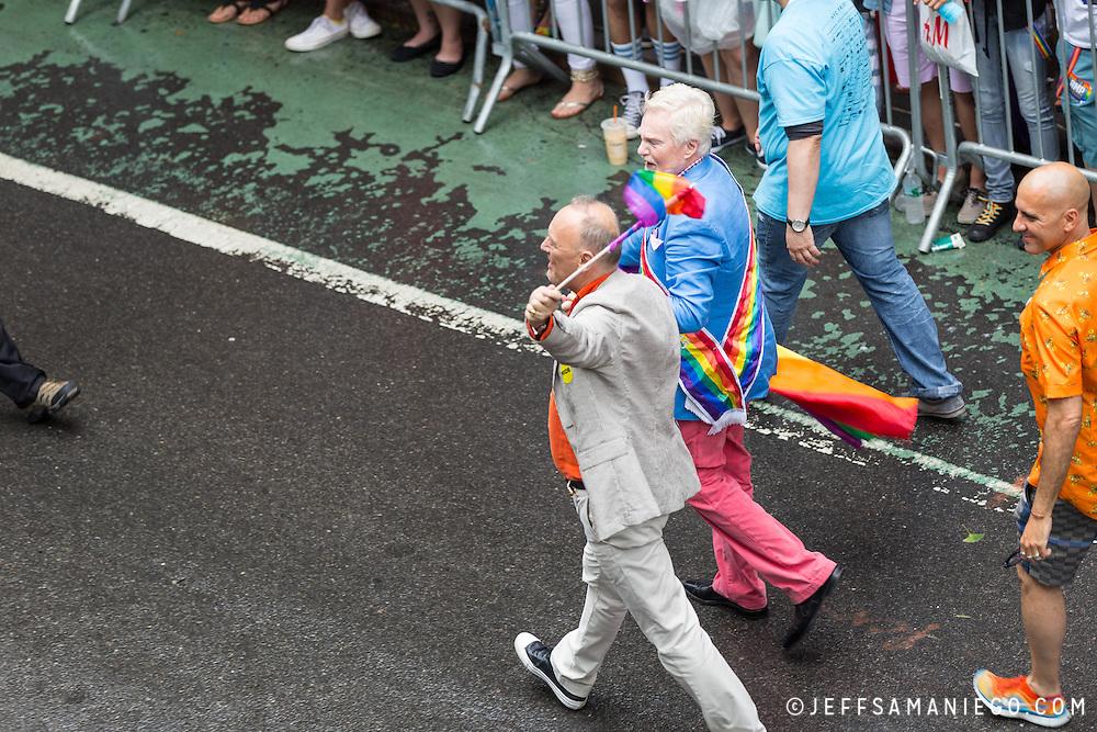 New York LGBT Pride Parade 2015, corner of Christopher Street and Gay Street, West Village Sir Derek Jacobi
