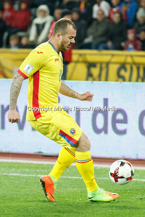 CLUJ-NAPOCA, ROMANIA, MARCH 26: Romania's national soccer player Denis Alibec controls the ball during the 2018 FIFA World Cup qualifier soccer game between Romania and Denmark, on March 26, at Cluj Arena Stadium, in Cluj-Napoca, Romania. (Photo by Mircea Rosca/Getty Images)full lenght,, full lenght,