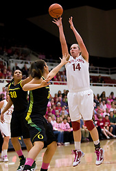 February 18, 2010; Stanford, CA, USA;  Stanford Cardinal forward Kayla Pedersen (14) shoots over Oregon Ducks forward/center Nicole Canepa (54) during the first half at Maples Pavilion.  Stanford defeated Oregon 104-60.