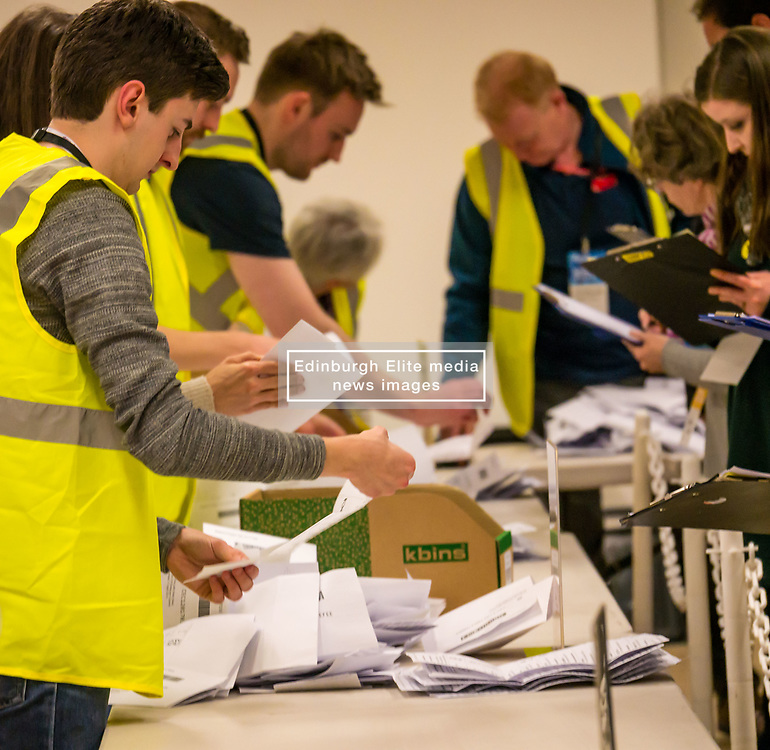 Pictured: Leith Walk Council By-Election. Edinburgh City Council, Edinburgh, Scotland, 11 April 2019. Pictured:  The count begins. 25,526 residents are registered to vote in one of the most densely populated areas in Scotland under the Single Transferable Vote (STV) system. This is the first time in Scotland that an STV by-election has been needed to fill two vacancies in the same ward, held as a result of the resignation of Councillor Marion Donaldson. The election fielded 11 candidates, including the first ever candidate for the For Britain Movement in Scotland, Paul Stirling, founded by former UKIP leadership candidate Anne Marie Waters in March 2018.<br /> <br /> Sally Anderson | EdinburghElitemedia.co.uk