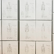 "November 20, 2012 - New York, NY : Costume sketches cover a wall at Second Stage Theatre on West 43rd Street in Manhattan, which was hosting early rehearsals for the play ""Water by the Spoonful"" on Tuesday night.  The play, by Quiara Alegria Hudes, won the 2012 Pulitzer Prize for drama.  CREDIT: Karsten Moran for The New York Times"