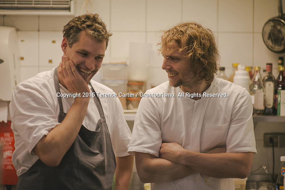Sous Chefs Beau Clugston (left) and Thomas Frebel (R) have worked with Redzepi for several years and have the Noma DNA in their approach to creating dishes. The pair arrived in Bangkok on Monday for the Thursday night dinner and made their way around ten of the city's markets to get inspiration for their menu. Copyright 2015 Terence Carter / Grantourismo. All Rights Reserved.