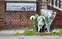 © Licensed to London News Pictures. 03/11/2018. London, UK.  Floral tributes have been placed over the road from Clapham South Underground station after a 17 year old was stabbed on Friday evening. The victim died of his wounds. The attack came 24 hours after a 15 year old boy was fatally stabbed in Lewisham. Photo credit: Peter Macdiarmid/LNP