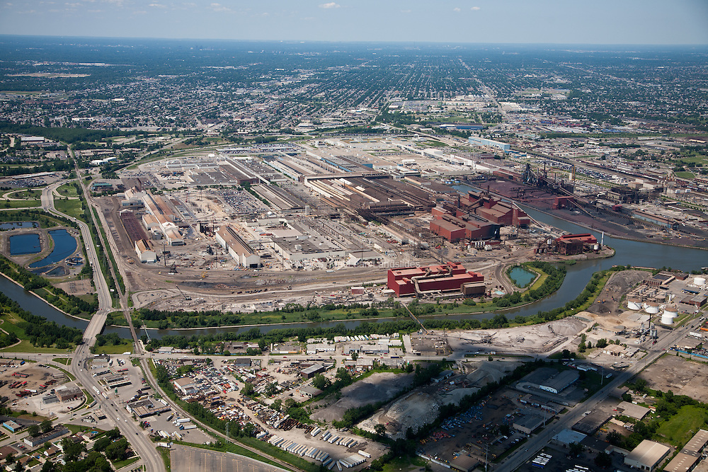 The Rouge River passed through a steel mill and industrial area southwest of Detroit