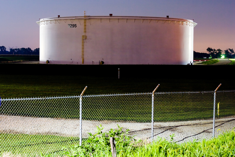 A giant oil storage tank located along a pipeline in the far suburbs of Chicago, IL.