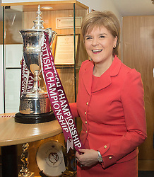 © Licensed to London News Pictures. 26/05/2015.  The First Minister, Nicola Sturgeon during a visit to winners of the Scottish Championship, Heart of Midlothian Football Club, to deliver her first first economic speech since the general election. Photo credit: Max Bryan/LNP