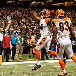 Nov 16, 2014; New Orleans, LA, USA; Cincinnati Bengals tight end Jermaine Gresham (84) scores a touchdown against the New Orleans Saints during the third quarter of a game at the Mercedes-Benz Superdome. The Bengals defeated the Saints 27-10. Mandatory Credit: Derick E. Hingle-USA TODAY Sports