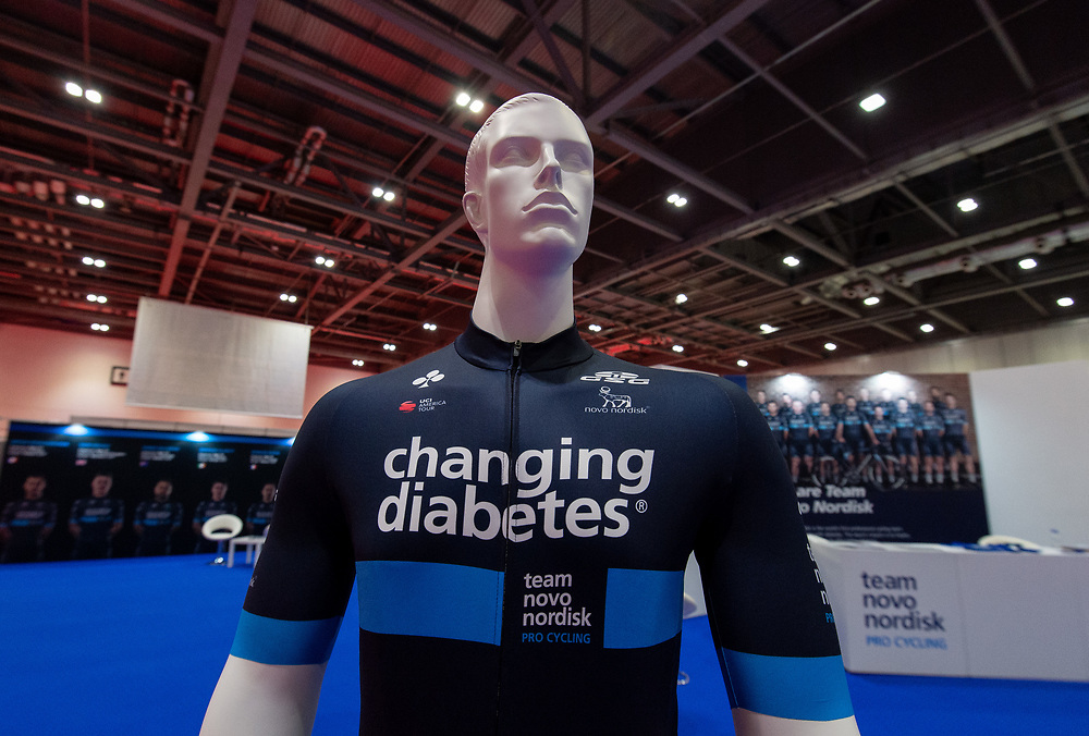 The Team Novo Nordisk stand. The Cycling Show at Excel London. 26th July 2018<br /> <br /> Photo: Anthony Upton for Prudential RideLondon<br /> <br /> Prudential RideLondon is the world's greatest festival of cycling, involving 100,000+ cyclists - from Olympic champions to a free family fun ride - riding in events over closed roads in London and Surrey over the weekend of 28th and 29th July 2018<br /> <br /> See www.PrudentialRideLondon.co.uk for more.<br /> <br /> For further information: media@londonmarathonevents.co.uk