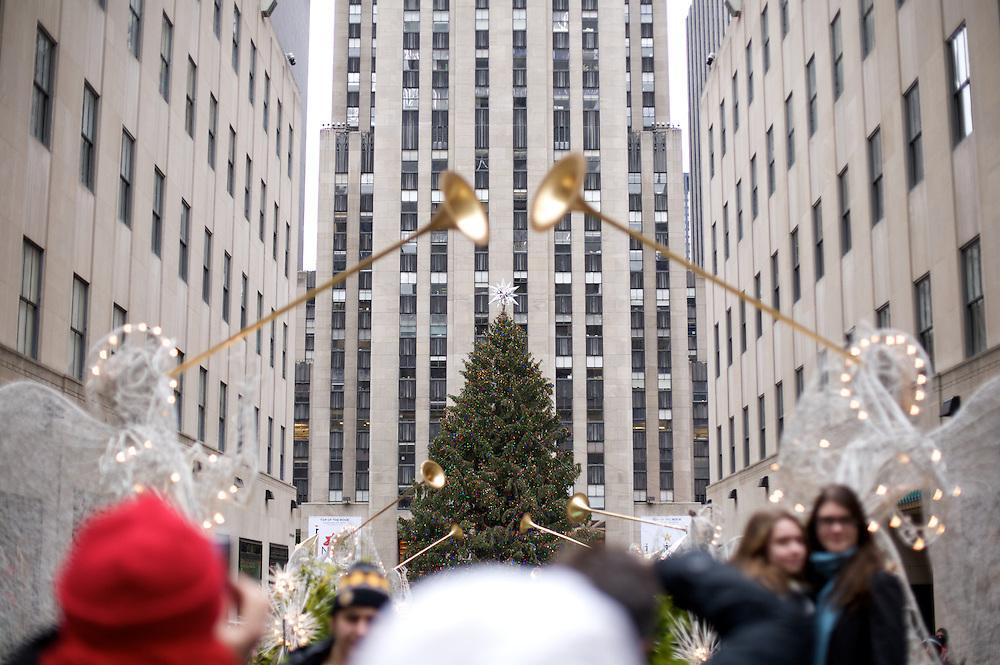 Christmas day at Rockefeller Center in New York City.  December 25 2010