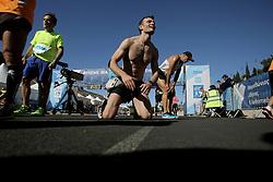November 13, 2016 - Athens, Attica, Greece - Exhausted runners having just crossed the finish line of the 34th Athens Classic Marathon, at the Panathenaic stadium in Athens, Greece, on Sunday November 13, 2016. (Credit Image: © Panayiotis Tzamaros/NurPhoto via ZUMA Press)