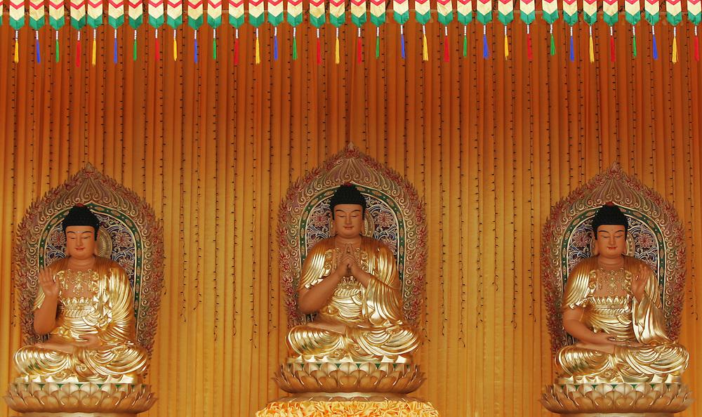 Three golden Buddha statue in Malaysia