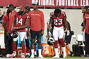 Atlanta Falcons wide receiver Julio Jones (11) looks on during the Pro Football Hall of Fame Game at Tom Benson Hall of Fame Stadium, Thursday, Aug. 1, 2019, in Canton, OH. The Broncos defeated the Falcons 14-10. (Robin Alam/Image of Sport)