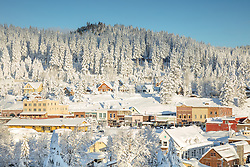 """""""Downtown Truckee 35"""" - Photograph of a snowy historic Downtown Truckee, shot in the morning after a big snow storm."""