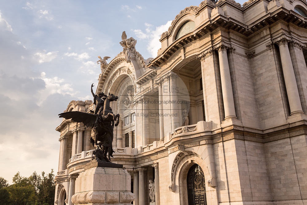 Palacio de Bellas Artes with the statue of Pegasus on Alameda Central in Mexico City, Mexico.