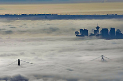 60632287<br /> Fog blankets over the city of Vancouver, Canada, Oct. 23, 2013. Thick fog that has blanketed B.C. s south coast for more than a week as a result of ridge of high pressure. Some flights and ferries cancellations, including traffic accidents were happened more frequently during these foggy days, Vancouver, Canada, Wednesday, 23rd October 2013. Picture by  imago / i-Images<br /> UK ONLY