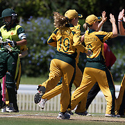 Australia celebrate the dismissal of Nain Abidi during the match between Australia and Pakistan in the Super 6 stage of the ICC Women's World Cup Cricket tournament at Bankstown Oval, Sydney, Australia on March 16 2009, Australia won the match by 107 runs. Photo Tim Clayton
