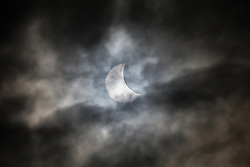 The Solar Eclipse is seen from Bristol Sport's Ashton Gate Stadium, home to Bristol City FC and Bristol Rugby - Photo mandatory by-line: Rogan Thomson/JMP - 07966 386802 - 20/03/2015 - Bristol, England - Ashton Gate Stadium - 2015 Solar Eclipse in the UK.