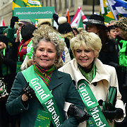 London, UK. 18th March 2018. Grand Marshalls Gloria Hunniford join the parade of the London's St Patrick's Day 2018 parade from Green Park to Trafalgar Square on 19th March 2017.
