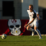 09 September 2018: San Diego State Aztecs defender Miles Stray (13) looks to pass the ball up the field in the second half. The San Diego State men's soccer team beat UC Irvine in overtime 2-1 Sunday afternoon at the SDSU Sports Deck.