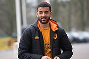 Kevin Stewart of Hull City arriving for the EFL Sky Bet Championship match between Hull City and Aston Villa at the KCOM Stadium, Kingston upon Hull, England on 31 March 2018. Picture by Craig Zadoroznyj.
