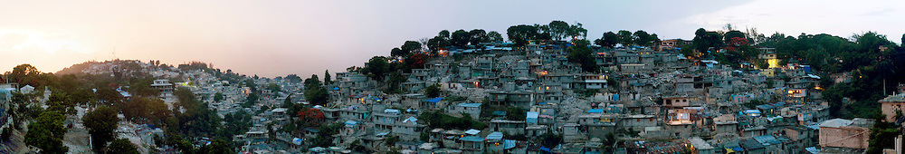 A neighborhood heavily damaged by the January 12th earthquake. Panoramic made from a collage of 6 images.