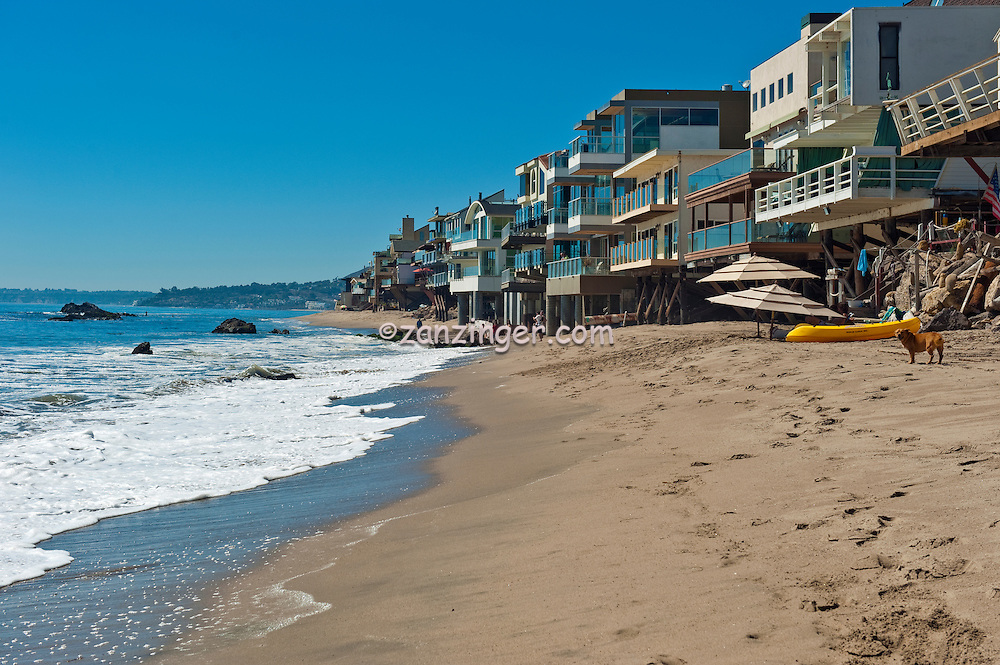Malibu Road, Ca, Colorful, Luxury, Oceanfront, Beach, Houses, Raised, Stilts, Pilings, low tide, Los Angeles, CA