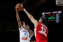 12.09.2014, City Arena, Madrid, ESP, FIBA WM, Frankreich vs Serbien, Halbfinale, im Bild France´s Jackson (L) and Serbia´s Krstic // during FIBA Basketball World Cup Spain 2014 semifinal match between France and Serbia at the City Arena in Madrid, Spain on 2014/09/12. EXPA Pictures © 2014, PhotoCredit: EXPA/ Alterphotos/ Victor Blanco<br /> <br /> *****ATTENTION - OUT of ESP, SUI*****