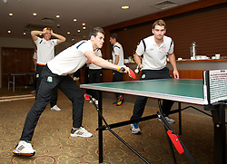 CARDIFF, WALES - Tuesday, September 4, 2012: Wales' Gareth Bale and Sam Vokes during a players' table tennis tournament at the St. David's Hotel ahead of the Brazil 2014 FIFA World Cup Qualifying Group A match against Belgium. (Pic by David Rawcliffe/Propaganda)