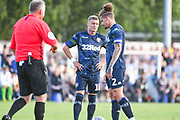 Leeds United midfielder Ezgjan Alioski (10) and Leeds United midfielder Kalvin Phillips (2) during the Pre-Season Friendly match between Guiseley  and Leeds United at Nethermoor Park, Guiseley, United Kingdom on 11 July 2019.