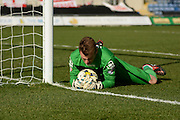 Stevenage goalkeeper Jamie Jones saves a penalty during the Sky Bet League 2 match between Oxford United and Stevenage at the Kassam Stadium, Oxford, England on 25 March 2016. Photo by Alan Franklin.